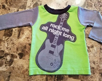 Handmade Toddler Boy Reycyled Guitar top!  Size 9-12 months!  Upcycled shirt!  Boy or girl!