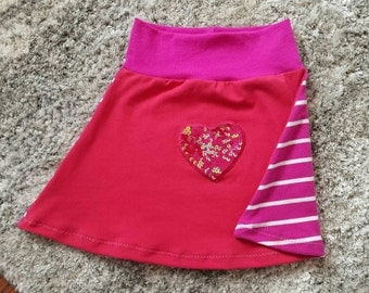 Handmade Toddler Girl Valentines Heart Skirt!  Recycled materials!  Upcycled! 18/24 months! Ready to mail!