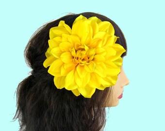 Yellow Dahlia Hair Clip, Yellow Flower, Yellow Hair Flower,  Pinup Dahlia