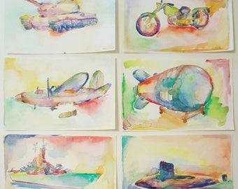 War Machines Set of 6 Watercolor Paintings