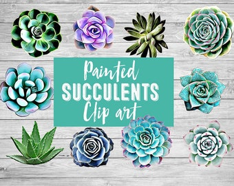 Succulents Digital clip art watercolor 19 painted succulents cactus clip art cacti cactus clip art Botanical art print Nature clip art