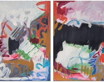 ORIGINAL DIPTYCH PAINTING  #1438 Abstract Modern Contemporary Art Colorful Two Part Painting Pink Neon Black White Orange