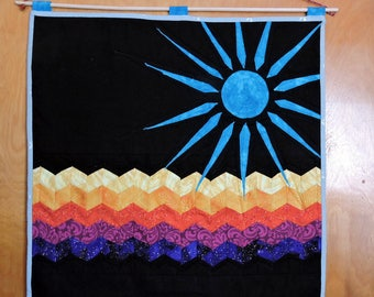 """The Sun Was Blue quilted patchwork wallhanging 21"""" x 20"""" * twilightdance"""