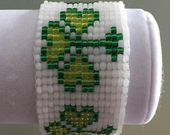 Shamrock Loom Bracelet White Emerald Green and Light Green Lucky  Clover