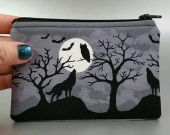Eventide - Change Purse - Zippered Pouch - Coin Purse - Black - Grey - White - Wolf - Moon - Full Moon - Ravens - Bats - Owl - Gold - Trees