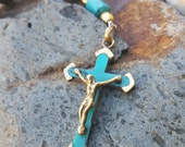 Turquoise Crucifix Rear View Mirror Charm - Brass and Wood Mini Rosary