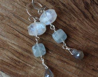 Rainbow Moonstone Aquamarine Earrings, Sterling Silver Gemstone Earrings, Wire Wrapped Jewelry, Labradorite Earrings, Gemstone Dangles, Blue