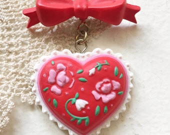 Vintage Valentine Red Heart Floral Roses Bow Lapel Pin Brooch