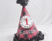 Buffalo Plaid 1st Birthday Party Hat Boy- Personalized- Lumberjack Themed