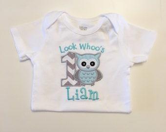 Look Whoos 1 Birthday Shirt Bodysuit in Grey/Aqua Green- Personalized Baby Boy- Owl Themed