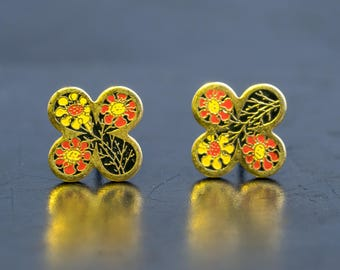 Vintage Enamel Floral Stud Earrings