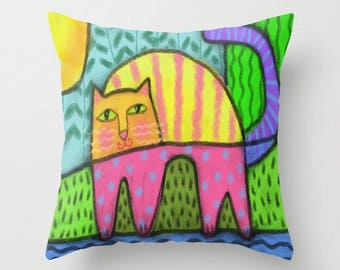 Happy Cat Abstract Digital Cat Painting Printed on Decorative Throw Pillow
