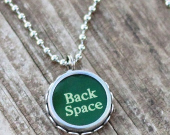 Typewriter Key Necklace, Back Space, Office Gift Idea