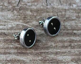 Typewriter Key Earrings, Writer Gift Ideas,Nickel Free, Post Ear Rings