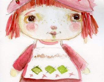 Strawberry Shortcake - 6x9 original watercolor