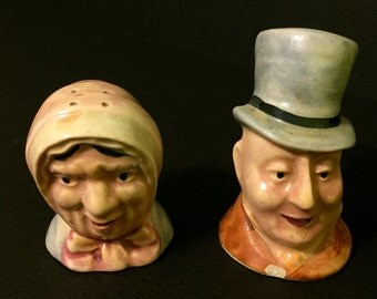 Old Man & Woman Heads Salt and Pepper Shakers