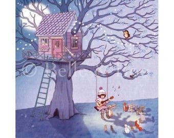 Belle's Lullaby art print, vintage style children's illustration print