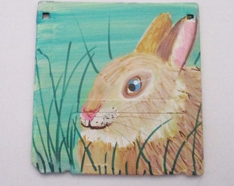 Brown Bunny Rabbit painting - art on recycled floppy disk, children room decor, kids wall art, woodland nursery, animal lover gift easter