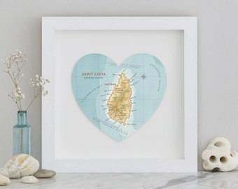 St Lucia Map heart Print - framed - Honeymoon gift - personalised wedding gift