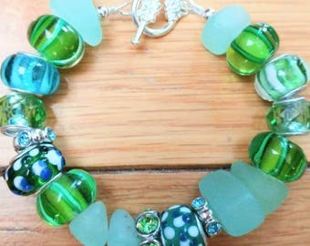 Chunky Green Lampwork Bracelet