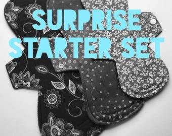 "Surprise Me Set!  Set of 3 Cloth Menstrual Pad Starter Set 11"", 12"", 15""~ Cotton Topped Mama Pad Set...Optional PUL"