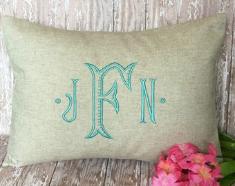 Monogram Pillow Cover. Farmhouse Decor. Rustic Cottage Decor. Ribbed Baroque font. 12x16 Decorative Throw Pillow. Wedding Gift. Baby Gift.