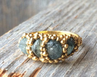 blue green natural SAPPHIRE  pebble ring rough crystals in tiny bubbles of gold plated brass ring ooak sample sale size 6