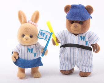 Maple Town Baseball, Rabbit, Bear, MT, Dressed, Collectible Figurines, Animals, Fuzzy ~ The Pink Room ~ 170304