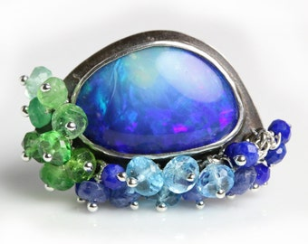 Opal Statement Ring with Gemstone Fringe. US size 6. Lapis, Swiss Blue Topaz, Blue Sapphires