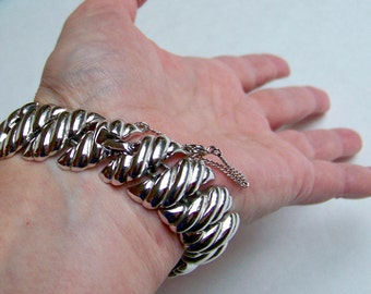 SJK Vintage -- Mid Century Chunky Links Bracelet, Rhodium Silver, Safety Chain (1950's-60's)