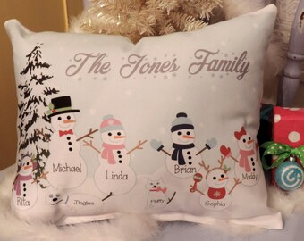 Personalized Snowman Family Pillow, Christmas Gift Pillow, Country Christmas Decor