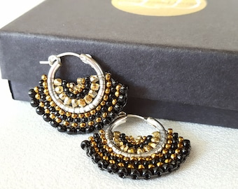 Mariposa  - Black, Bronze and Antique Gold Beadwoven Butterfly Wing Earrings