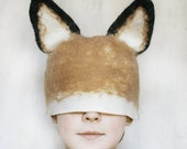 ON SALE Realistic Fox Animal Hat with Ears / Hand Felted Wool - Unisex / Any Size