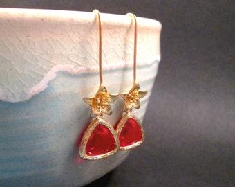 Red Bezel Drop Earrings, Gold Star Flower Earrings, Long Dangle Earrings, FREE Shipping U.S.