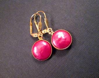 Freshwater Pearl Earrings, Hot Pink Coin Pearl Bezels, Gold Dangle Earrings, FREE Shipping U.S.