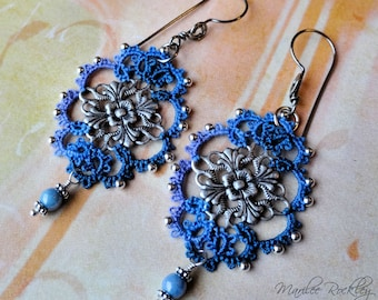 Lace earrings Victorian antiqued silver filigree blue tatting with beads hypoallergenic niobium earwires