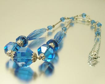Vintage/ antique/ estate Art Deco 1930s silver tone and blue crystal glass costume necklace - jewellery / jewelry - Downton Abbey