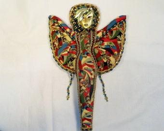 OOAK Beaded Fairy DRAGONFLY Goddess cloth art doll 12 in.