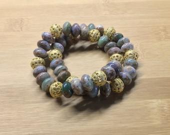 Chunky Green Opal Stretch Bracelet