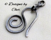 Oxidized Sterling Silver Clasp (16 gauge) Hammered Swirl Hook & Connector 2pc Handmade Metalwork Jewelry Component MTO