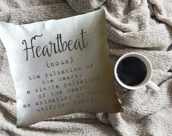 Heartbeat definition decorative throw pillow cover, Valentine's gft, wedding gift
