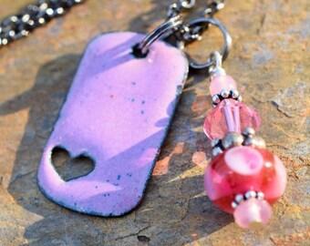 Copper Enamel Pendant Lampwork Bead Necklace Little Pink Heart