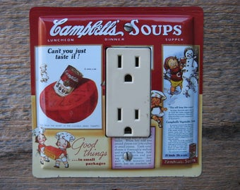 Outlet Covers Socket Large Plug Cover Rocker Switch Plate Outlets Made From A Campbells Soup Tin Cans Tins For Retro Kitchen Decor GFC-3083