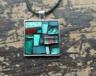 Seafoam Green and Cranberry Mosaic Patchwork Pendant