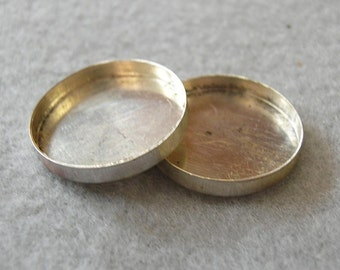 20mm Round Sterling Silver Bezel Cups, lot of 2