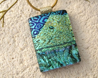 Blue Green Gold  Pendant, Fused Glass Jewelry, Dichroic Necklace, Glass Pendant, Dichroic Jewelry, Gold Black/Necklace Included, 032617p100
