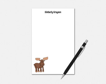 Personalized Moose Notepad - Personalized Notepad - Cute Moose Gift - Moose Stationery - Moose Notepad