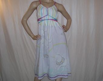 Purple Unicorn Dress Pastel Furry Vintage Fabric Sundress Gay Pride Parade Dress Mom Party Unicorn Rainbow Stripe Maternity Adult M L XL