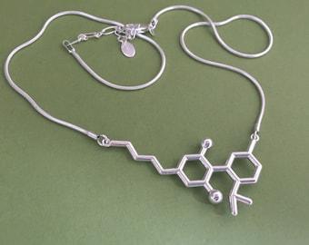 CBD cannabidiol molecule necklace in solid sterling silver