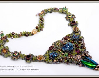Freeform Beadwoven Statement Necklace, Swarovski, Druzy Raw Mineral Necklace, Beetle Wings Stones Pearls, Untamed Dreams by enchantedbeads